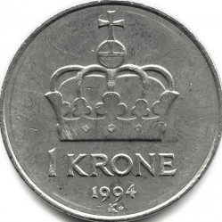 Coin > 1krone, 1992-1996 - Norway  - reverse
