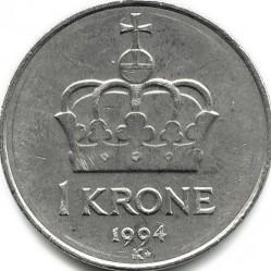 錢幣 > 1克朗, 1992-1996 - 挪威  - reverse