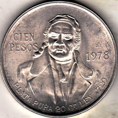 100 pesos 1977-1979, Mexico - Coin value - uCoin net