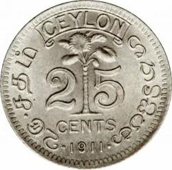 Монета > 25цента, 1911-1917 - Цейлон  - reverse