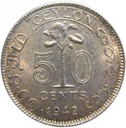 Coin > 50cents, 1942 - Ceylon  - reverse