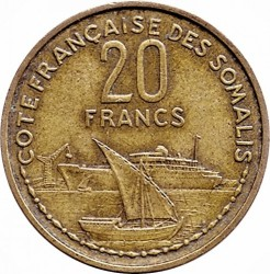 Moneta > 20franchi, 1952 - Somalia Francese  - reverse