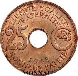 Moneta > 25centymów, 1943 - Francuska Afryka Równikowa  - reverse