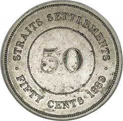 Moneta > 50centesimi, 1886-1901 - Insediamenti dello Stretto  - reverse