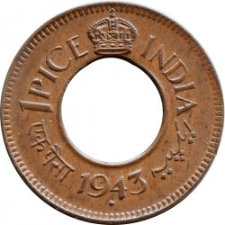 Moneta > 1 pice, 1943 - India Britannica  (Crown with Rounded Corners) - reverse
