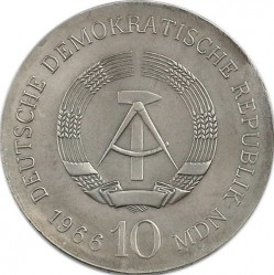 Moneda > 10marcos, 1966 - Alemania - RDA  (125º Aniversario - Muerte de Karl Friedrich Schinkel) - reverse