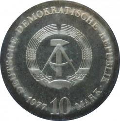 Moneda > 10marcos, 1977 - Alemania - RDA  (375 Aniversario - Nacimiento de Otto von Guericke) - obverse