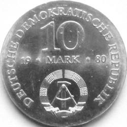 Moneda > 10marcos, 1980 - Alemania - RDA  (225º Aniversario - Nacimiento de Gerhard von Scharnhorst) - obverse