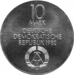 Moneda > 10marcos, 1982 - Alemania - RDA  (Gewandhaus en Leipzig) - obverse