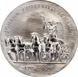 Moneda > 10marcos, 1989 - Alemania - RDA  (225º Aniversario - Nacimiento de Johann Gottfried Schadow) - obverse
