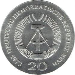 Moneda > 20marcos, 1973 - Alemania - RDA  (60º Aniversario - Muerte de August Bebel) - obverse