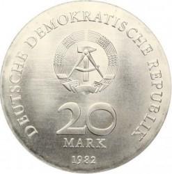 Monēta > 20marku, 1982 - Vācija - VDR  (125th Anniversary - Birth of Clara Zetkin) - obverse