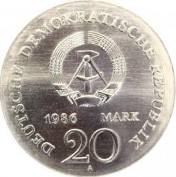Moneda > 20marcos, 1986 - Alemania - RDA  (250º Aniversario - Nacimiento de los Hermanos Grimm) - obverse