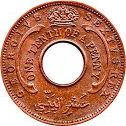 Moneda > 1/10penic, 1952 - Àfrica Occidental Britànica  - obverse