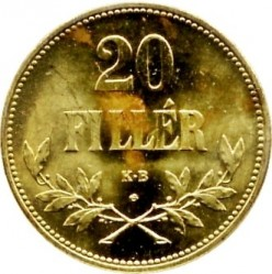 Moneta > 20filler, 1922 - Ungheria  (Brass /non-magnetic/) - reverse
