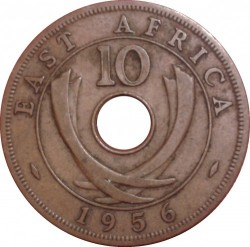 Coin > 10cents, 1956 - British East Africa  - obverse