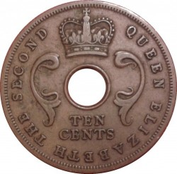 Coin > 10cents, 1956 - British East Africa  - reverse