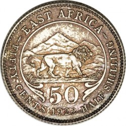 Coin > 50 cents, 1921-1924 - British East Africa  - reverse