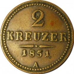 Coin > 2kreuzer, 1851 - Austria  - reverse
