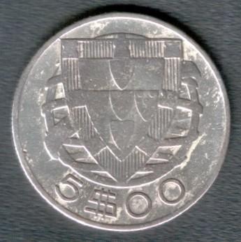 5 Escudos 1932 1951 Portugal Münzen Wert Ucoinnet
