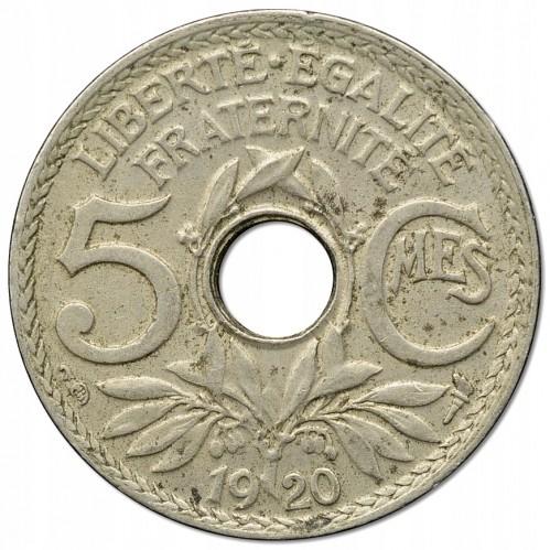 5 Centimes 1920 Loch In Der Mitte Frankreich Münzen Wert