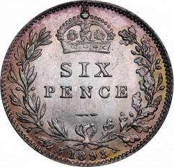 Moeda > 6pence, 1893-1901 - Reino Unido  - reverse
