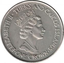 Moneta > 1corona, 1991 - Turks e Caicos (Isole)  (10° anniversario - Matrimonio del principe Carlo e Lady Diana/Lady Diana/) - obverse