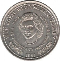 Moneta > 1corona, 1991 - Turks e Caicos (Isole)  (10° anniversario - Matrimonio del principe Carlo e Lady Diana/Lady Diana/) - reverse