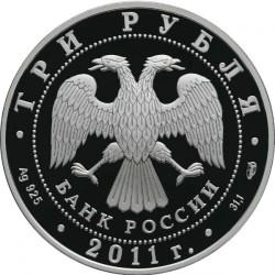 Moneta > 3ruble, 2011 - Rosja  (Chrońmy nasz świat - Leopard) - obverse