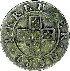 Кованица > 1крајцер, 1830 - Кантони Швајцарске  - reverse