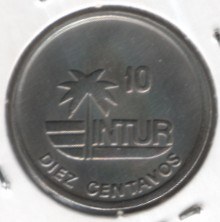 Монета > 10сентаво, 1989 - Куба  (INTUR: не магнетик, діаметр 21мм) - reverse