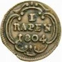 Монета > 1рапен, 1804 - Кантони на Швейцария  (Date within cartouche) - reverse