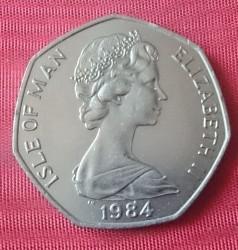 """Moneta > 50pensów, 1984 - Wyspa Man  (Wyścigi motocyklowe """"Tourist Trophy"""") - obverse"""