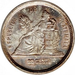 Moneda > 25centavos, 1881-1891 - Guatemala  - reverse