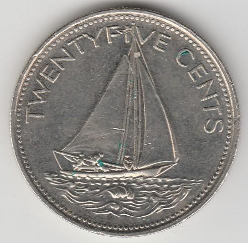 57h 25 Cents Queen Elizabeth Ii 1966 Bahamas Central America
