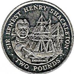 Монета > 2паунда, 2001 - Южна Джорджия  (Sir Ernest Henry Shackleton) - reverse
