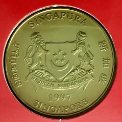 Moneta > 10dollari, 1997 - Singapore  (30° anniversario - ASEAN-Associazione delle Nazioni Del Sud-Est asiatico) - obverse