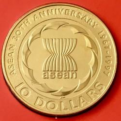 Moneta > 10dollari, 1997 - Singapore  (30° anniversario - ASEAN-Associazione delle Nazioni Del Sud-Est asiatico) - reverse