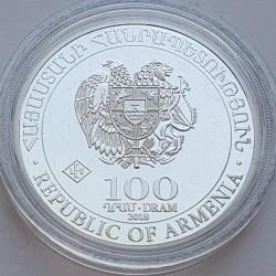 Moneda > 100dram, 2018 - Armenia  (Copa Mundial de Fútbol de Rusia 2018) - obverse