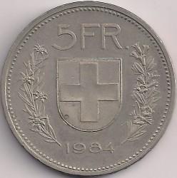 Mynt > 5francs, 1984 - Schweiz  - reverse
