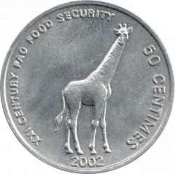 Մետաղադրամ > 50սամտիմ, 2002 -  Կոնգոյի Դեմոկրատական Հանրապետություն  (Animal - Giraffe) - reverse