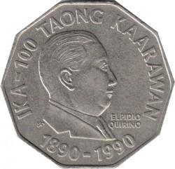 Moneda > 2pesos, 1991 - Filipinas  (Centenario del Movimiento Nacional - Elpidio Rivera Quirino) - reverse