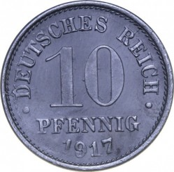 Moneda > 10peniques, 1917 - Alemania  (Puntos grandes, zinc /no magnética/) - obverse