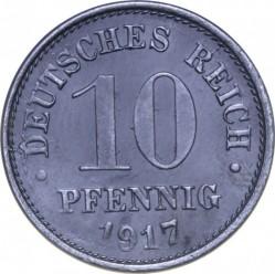 Moneda > 10peniques, 1917 - Alemania  (Puntos grandes, zinc /no magnética/) - reverse