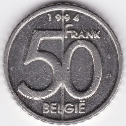 Кованица > 50 франака, 1994-2001 - Белгија  (Legend in Dutch - 'BELGIE') - obverse