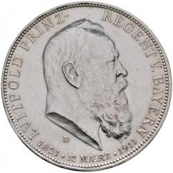Moneda > 5marcos, 1911 - Alemán (Imperio)  (90º Aniversario - Nacimiento del Príncipe Regente Luitpold) - obverse