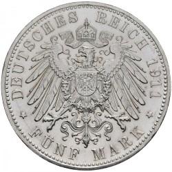 Moneda > 5marcos, 1911 - Alemán (Imperio)  (90º Aniversario - Nacimiento del Príncipe Regente Luitpold) - reverse