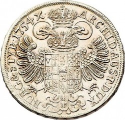 سکه > ½تالر, 1751-1754 - اتریش   (Maria Theresa - Arms of Styria in Centre) - reverse