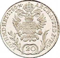 Монета > 20кройцера, 1781-1790 - Австрия  (Joseph II - Close Wreath above Head) - reverse