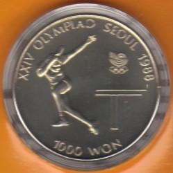 Moeda > 1000won, 1988 - Coreia do Sul  (XXIV summer Olympic Games, Seoul 1988 - Table Tennis) - reverse